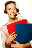 Call center woman with headset. Royalty Free Stock Images