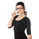 Call center woman with headset. Royalty Free Stock Photo