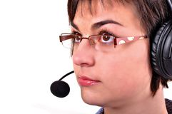 Call center woman with headset. Royalty Free Stock Photos