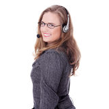 Call center woman with headset Stock Image