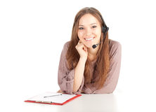 Call center woman in headset Royalty Free Stock Photo
