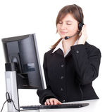 Call center woman in headset Stock Photo