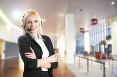 Call center. Woman with headset Royalty Free Stock Images