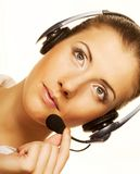 Call center woman with headset. Stock Photos