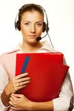 Call center woman with headset. Stock Photography