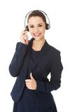 Call center woman with headset. Royalty Free Stock Image