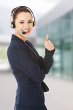 Call center woman with headset. Royalty Free Stock Photography
