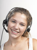 Call Center Woman with Headset Royalty Free Stock Photo