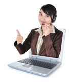 Call center woman with headset showing thumbs up with laptop. Isolated on white background royalty free stock images