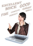 Call center woman with headset showing thumbs up with laptop. Isolated on white background stock photos
