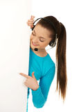 Call center woman pointing on billboard. Stock Photography
