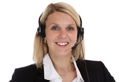 Call center woman portrait secretary with headset telephone phon Royalty Free Stock Photography