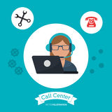 call center woman receptionist support laptop vector illustration
