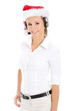 Call center woman with red Christmas hat Royalty Free Stock Image