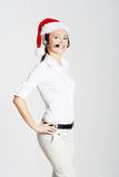 Call center woman with red Christmas hat Stock Image