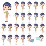 Call center woman. Set of various poses of Call center woman vector illustration
