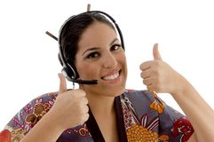 Call center woman showing both thumbs up Stock Photography
