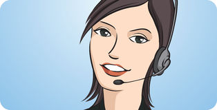 Call center woman smiling with headset. Vector illustration of call center woman smiling with headset. Easy-edit layered vector EPS10 file scalable to any size Royalty Free Stock Photo