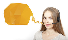 Call Center Woman and Speech Bubble Royalty Free Stock Photo