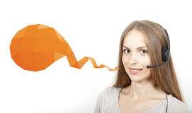 Call Center Woman and Speech Bubble Stock Photography
