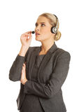 Call center woman talking to customer Stock Photography