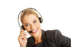 Call center woman talking to customer Royalty Free Stock Images