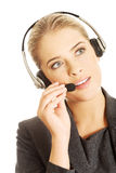 Call center woman talking to customer Royalty Free Stock Photo