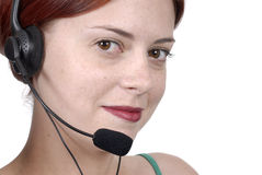 Female young adult woman telephone headset, microphone, close up, looking at camera Royalty Free Stock Photos
