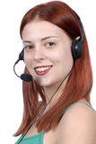 Young adult female call center woman telephone headset, vertical, side view, white background Stock Image