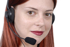 Call center woman telephone headset Stock Photography