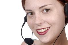 Call center woman telephone headset Stock Images