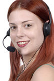 Call center : young adult female woman telephone headset, smiling, looking at camera, white background Royalty Free Stock Images