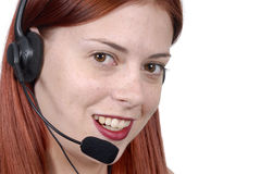 Customer service : young adult female call center woman telephone headset, close up, white background Stock Photography