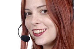 Close up call center young adult female woman telephone headset, smiling Royalty Free Stock Photo