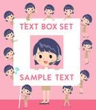 Call center woman text box. Set of various poses of Call center woman text box Stock Photos