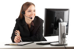 Call center woman working on compurer Royalty Free Stock Photo