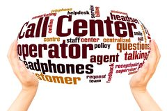 Call center word cloud hand sphere concept royalty free illustration