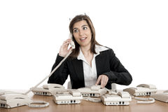 Call center work Stock Photo