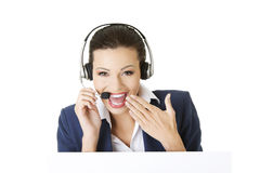 Call center worker holding blank board Stock Photos
