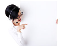Call center worker holding blank sign board Royalty Free Stock Photo