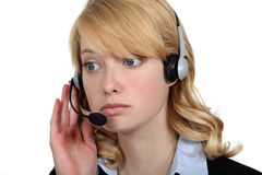 Call-center worker listening Stock Photography