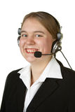 Call center worker on white Royalty Free Stock Photography