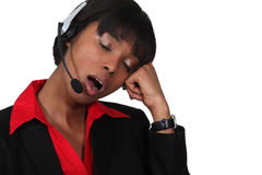 Call-center worker yawning Royalty Free Stock Images