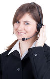 Call center young woman with a headset Royalty Free Stock Image