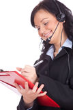 Call center young woman with headset and clipboard Stock Photos