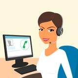 call centerkvinnligoperatör stock illustrationer