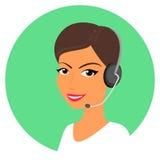 call centerkvinnligoperatör Arkivfoto
