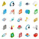Call centersymbolsuppsättning, isometrisk stil royaltyfri illustrationer