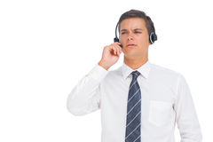Call centre agent working with headset Royalty Free Stock Image