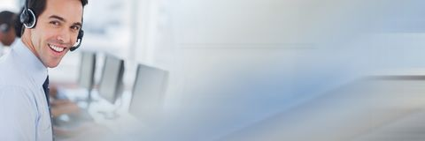 Call centre employee with blue and grey transition Royalty Free Stock Image